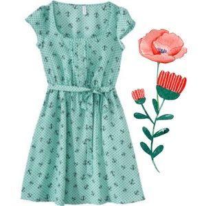 Xhilaration Blue (Aqua) Anchor Dress Vintage Style